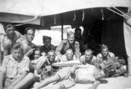 April 1943 - A Polish army camp near Suez. Antoni 1st from left, seated cross-legged, front row.