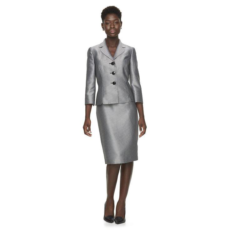 Women's Le Suit Herringbone Suit Jacket & Pencil Skirt Set, Size: 16, Black
