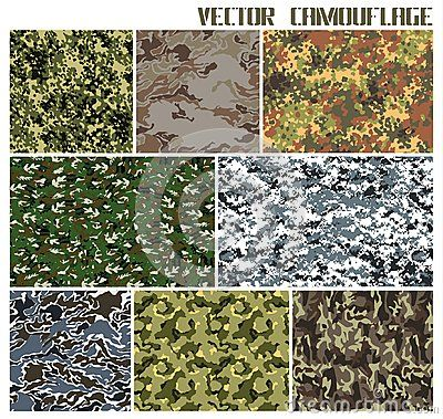 Eight different vector camouflages. forest and urban. with a minimum number of layers