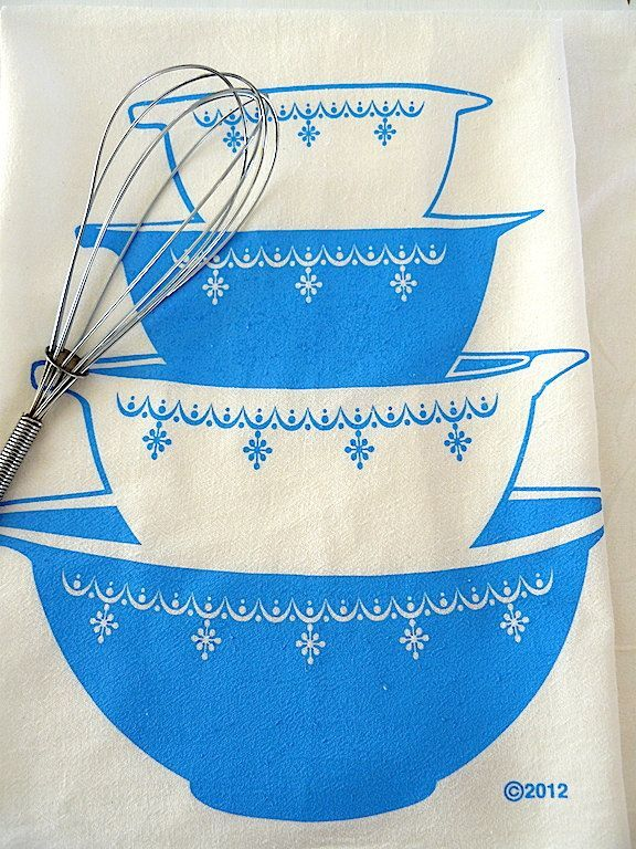 MARCH Delivery - turquoise vintage Pyrex bowls flour sack tea towel kitchen retro cotton screen printed by janetmorrin on Etsy