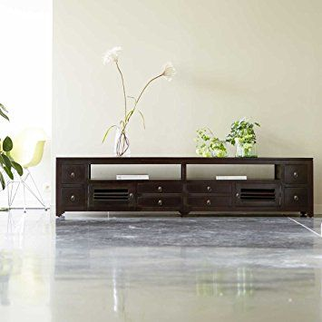tikamoon actuo aka meuble tv acajou marron 220 x 50 x 50 cm