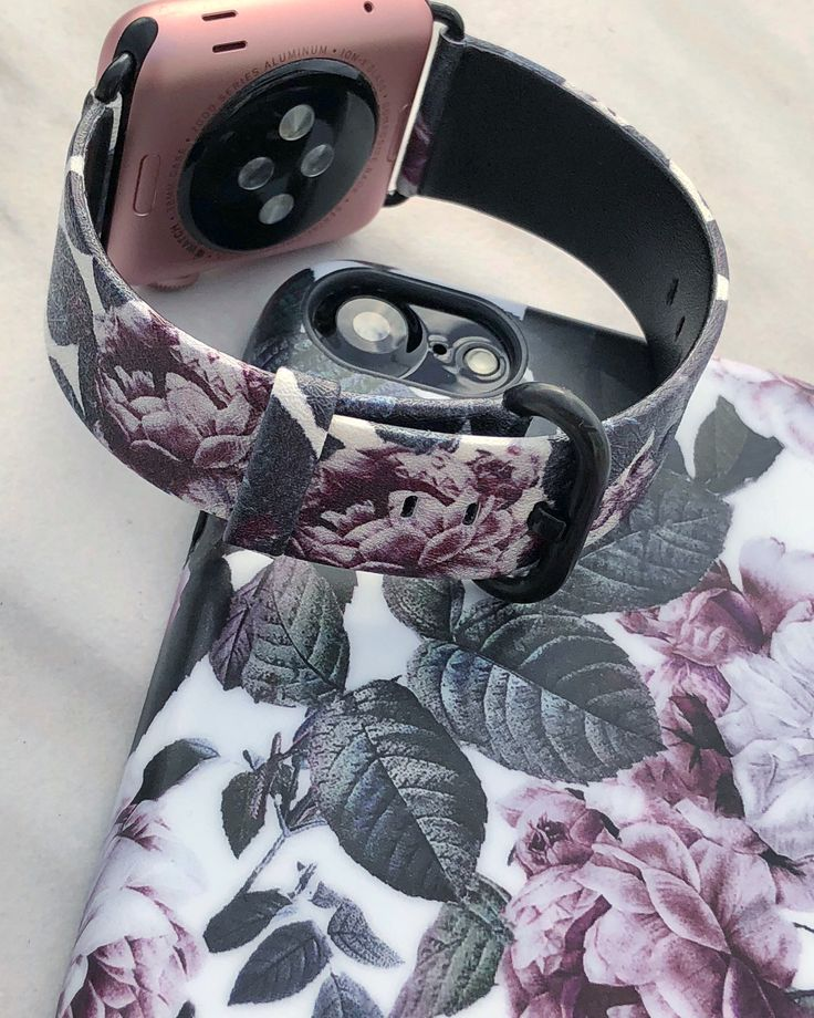 Covered in florals  Shadow Blossom Case & Apple Watch Band in Vegan Leather for iPhone X, iPhone 8 Plus / 7 Plus & iPhone 8 / 7. Apple Watch band for 38mm & 42mm series 1, series 2 & series 3 + ordinal Apple watches. #shadowblossom #iPhoneX #iPhone8 #iPhone8Plus #iPhone7 #iPhone7Plus #florals #applewatch