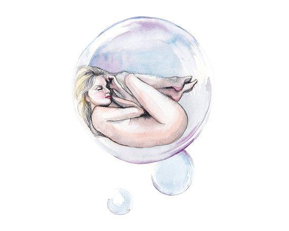 Printable wall art bubble/ dreamy by WatercolorprintByOli on Etsy
