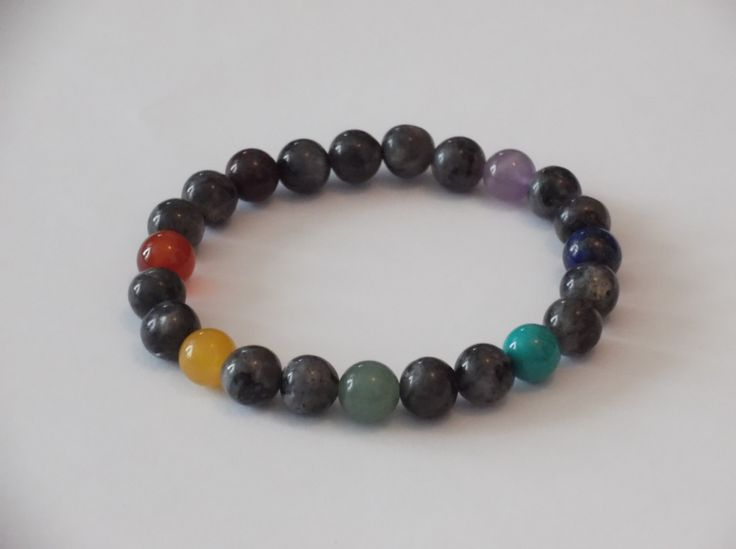 7 Chakras Labradorite Gemstone Stretch Bracelet-Healing brcelet,Stretch Bracelet by HealingAuras on Etsy