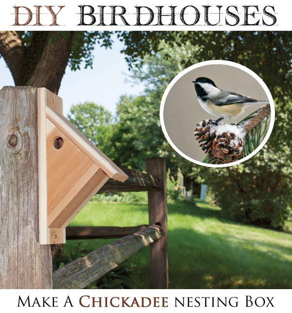 DIY Birdhouses - make a chickadee nesting box