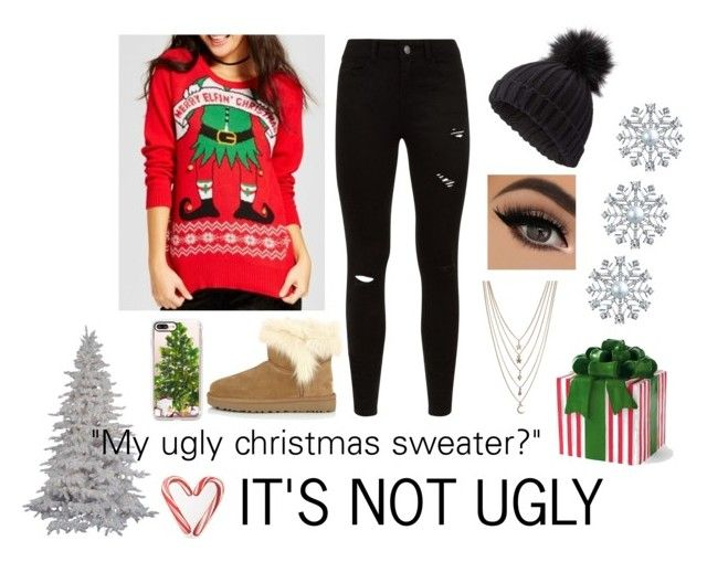 """Merry Elfin' Christmas"" by sarah-gryffindor17 ❤ liked on Polyvore featuring UGG, Miss Selfridge, Ettika, Casetify, Grandin Road, Draper James, Bling Jewelry, Christmas, red and presents"