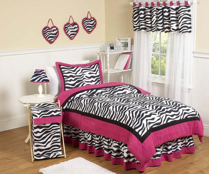 Hot Pink & Black Zebra Print Twin Comforter Set Girls Bedding 4pc Bed in a Bag