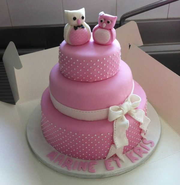 gateau mariage pate a sucre hiboux My first Wedding Cake Trucs & astuces pour réussir un Wedding Cake