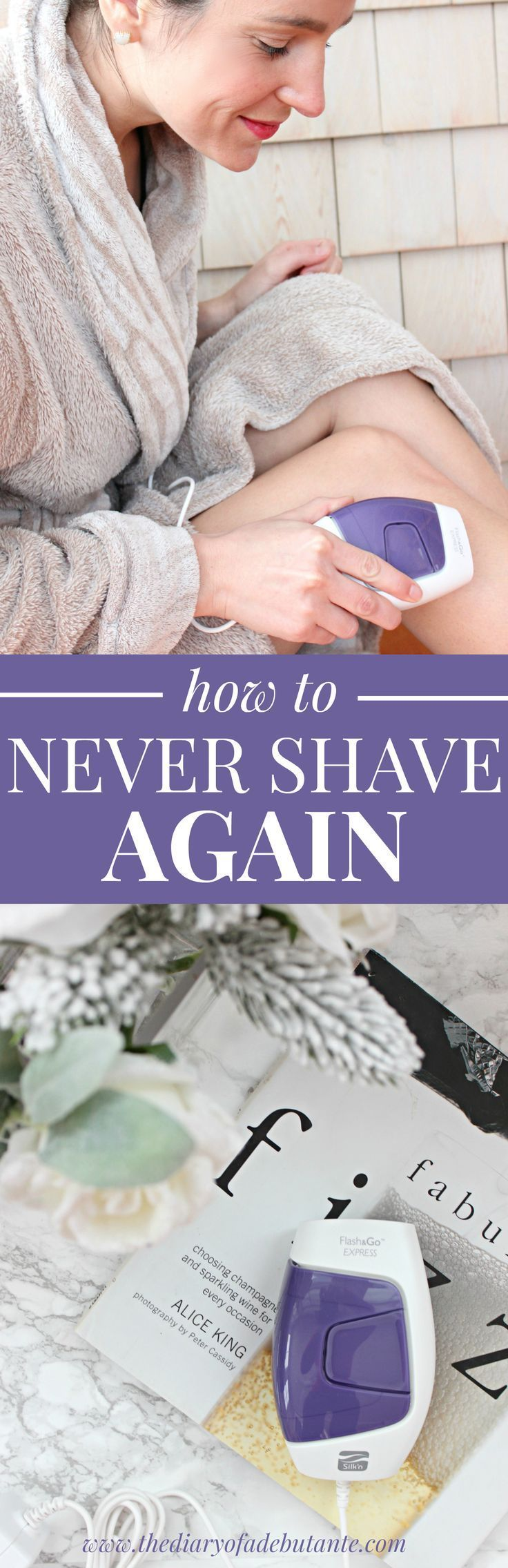Never shave again with the Silk'n Flash&Go Express laser hair removal device. You can permanently removed unwanted hair anywhere below your cheeks on your face, on your legs, on your bikini line, and on your arms. Guys can use it, too!
