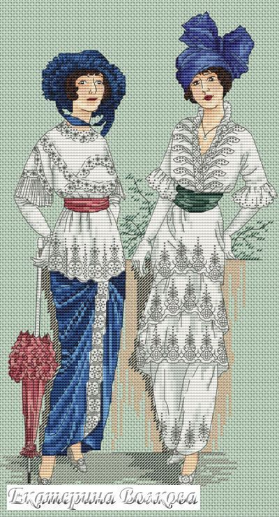 0 point de croix femmes mode vintage - cross stitch fashion of vintage ladies 1