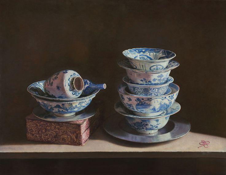 Erkin(Uzbek, b.1957)Oil on panel -Still Life with Chinese porcelain   2013