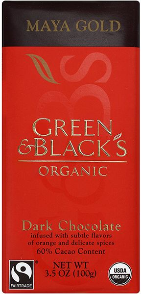 Green and Blacks Maya Gold 60%... Μαύρη σοκολάτα 60% κακάο με πορτοκάλι και μπαχαρικά - μοσχοκάρυδο και κανέλα. Εντονο άρωμα μπαχαρικών με πορτοκάλι και καθόλου κακάο. Πολύ απαλή γεύση κακάο με πιο έντονες νότες πορτοκαλιού, μοσχοκάρυδου και κανέλας. Στο τέλος αφήνει μία υπόνοια πορτοκαλιού και αργότερα απαλό κακάο. Ενας ιδιαίτερος συνδιασμός αλλά με μέτριο γευστικό αποτέλεσμα.