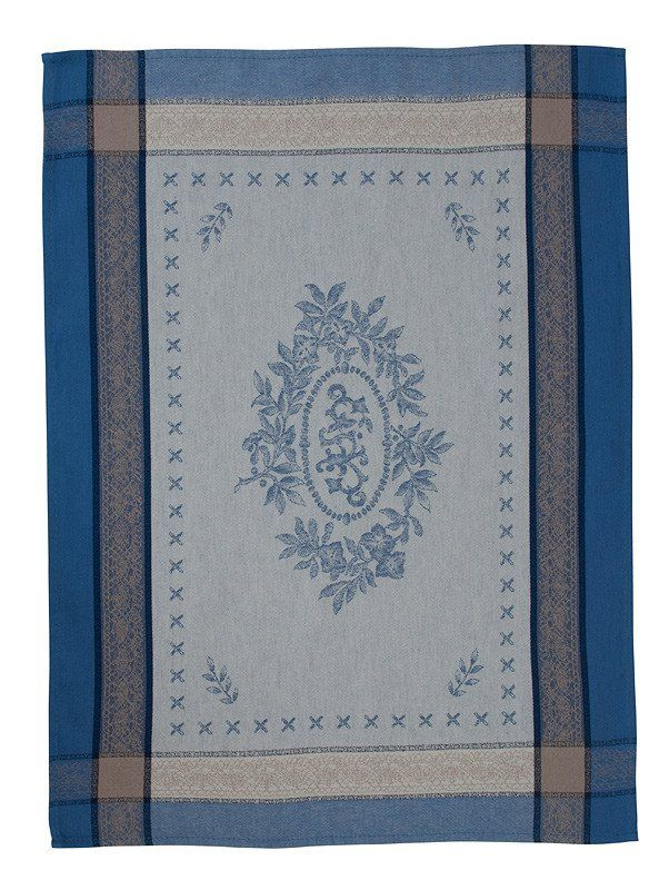 french linen jacquard tea towel with monogramme design in blue