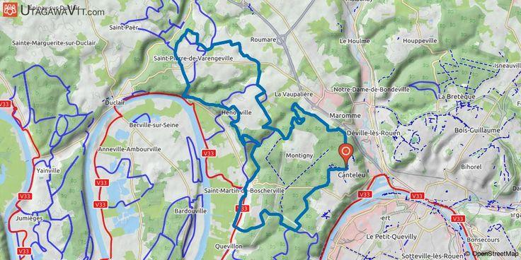 """[Seine-Maritime] Forêt de Roumare : Cicuit 3 (violet) - De Saint-Pierre-de-Varengeville au chêne St-Martin Ceci est une trace faite à partir de l'ancienne carte """"Parcours VTT Evasion O.N.F."""" de la forêt de Roumare.  Les chemins sont encore balisés par couleur et numéro. Suivre les balises violettes avec le N° 3.  Les balises n'ont plus l'air d'être entretenues depuis plusieurs années."""