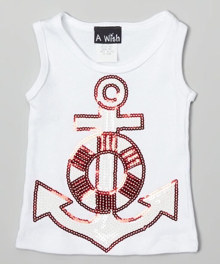 White & Red Sequin Anchor Tank - Infant Toddler & Girls