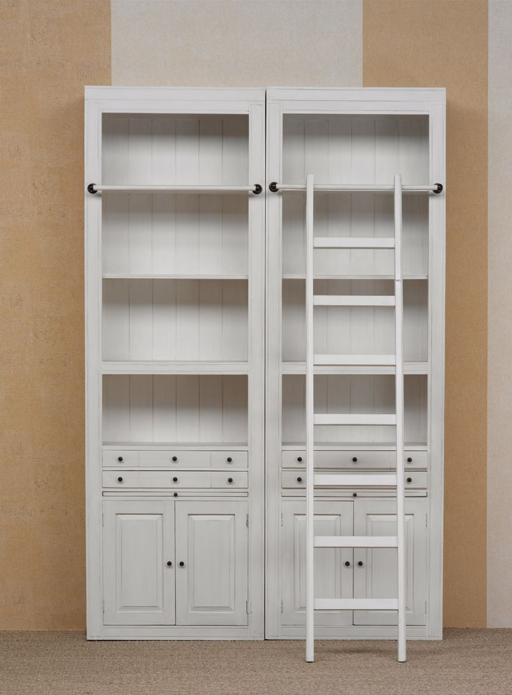 www.livinghome.nl info@livinghome.nl €418,- #boekenkast #trap #wit #antiek #brocante #ladder #interieur