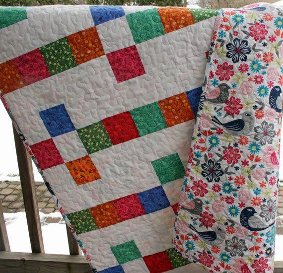 Baby Quilt - Quilts for Sale - Modern Quilt - Handmade Quilt - Birds - Girl Quilt - Crib Quilt - Nursery Bedding - Baby Blanket - Baby Gift