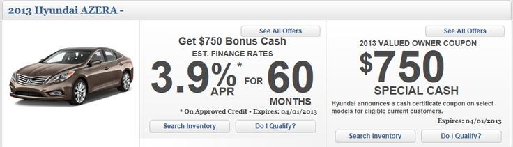 Bonus cash incentive on the all new 2013 Hyundai Azera! Just visit www.bakersfieldhyundai.com to view details :)