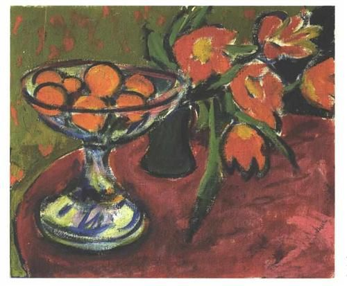 Still Live with Tulips and Oranges - Ernst Ludwig Kirchner