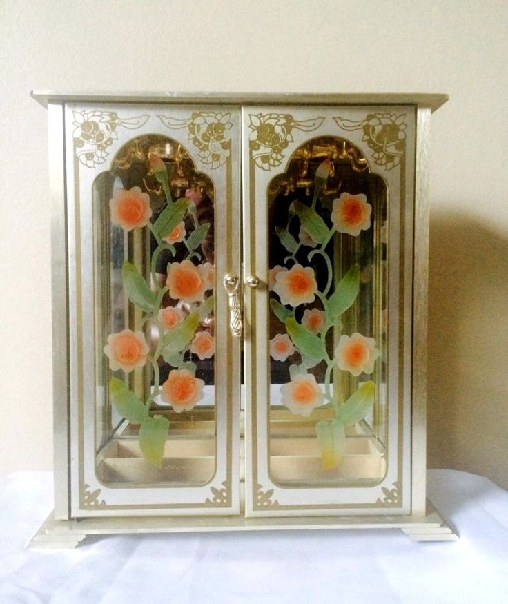 Vintage Womens Flower Stained Etched Glass Gold Silver Jewelry Box #Unbranded