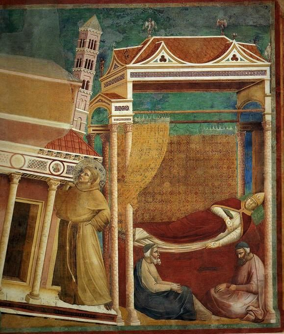 The dream of Pope Innocent III concerning st Francis (he didn't know him at that moment) sustaining the Church