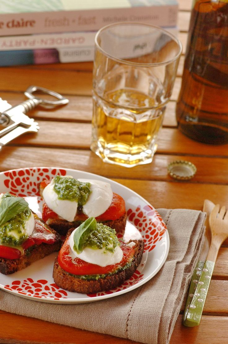 Crostini with Mozzarella, Sweet Peppers, and Basil Sauce