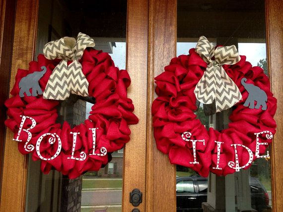Custom Alabama Crimson Burlap Wreath Roll by Frontdoorshowcase, $150.00