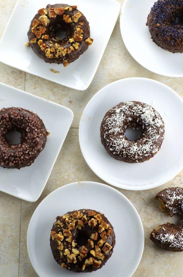 Chocolate Glazed Banana Bread Donuts