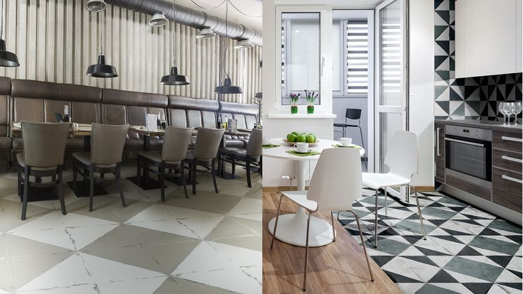 Overlap is a glazed porcelain stoneware collection offered in many timeless shades, patterns and sizes. Overlap offers the nostalgia of the trendy retro geometrical tiles combined with colors overlapping the texture. The contrast with the reflecting slick metallic finish creates a beautiful and rich worn-out effect, offering a unique and eclectic touch to your project. #diningroom #floor