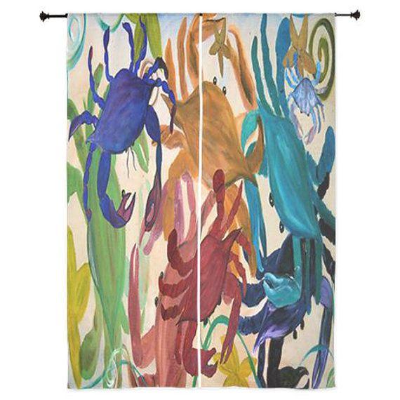 Crab Party Coastal Sheer Curtains