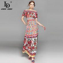 Alta Calidad 2017 Del Verano de Boho Traje de Diseño Conjunto de 2 Unidades de la Mujer Sexy Raya Vertical cuello Top + Rose Floral Print Falda Conjunto Informal traje(China (Mainland))