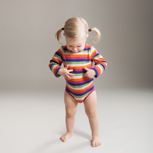 Colourful lilac/ pink multi stripe make this playful bodysuit easy to mix&match.