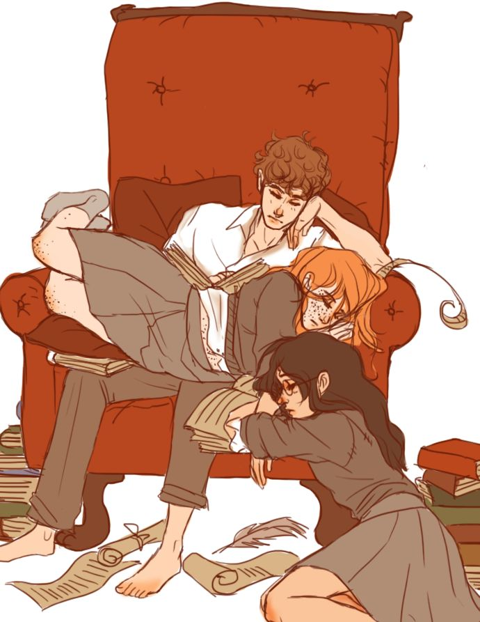 Genderbent Golden Trio having a snooze after late night studying/planning shenanigans. Named them Harriet, Herman and Veronica in my head. artist - finncat.deviantart.com