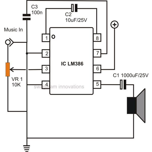 Simple Low Power Audio Amplifier Circuit Diagram Using IC LM386 with a Gain of 200 | Electronics