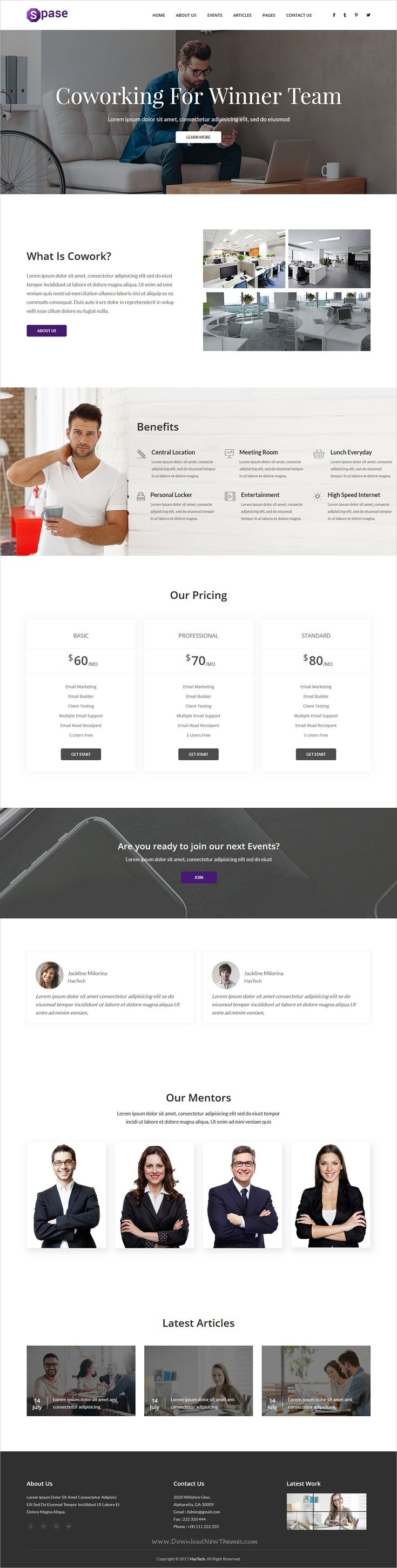 Spase is clean and modern design 4in1 responsive #HTML template for Open #Office, #Coworking Space & startup offices website download now..
