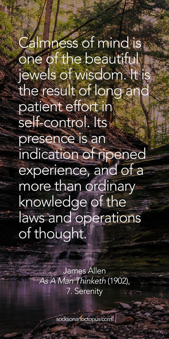 Quote Of The Day: February 2, 2015 - Calmness of mind is one of the beautiful jewels of wisdom. It is the result of long and patient effort in self-control. Its presence is an indication of ripened experience, and of a more than ordinary knowledge of the laws and operations of thought. — James Allen, 'As A Man Thinketh' (1902), 7. Serenity