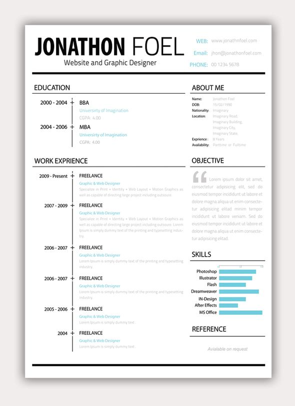61 best CV images on Pinterest Resume templates, Resume and Page - resume format free download