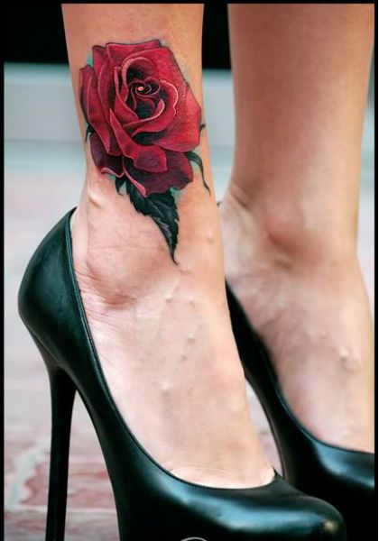 3d red rose ankle tattoo