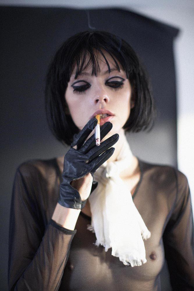 Fetish model smoking