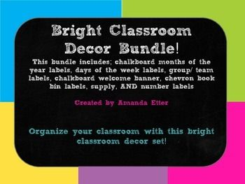 This pack includes TONS of decor for you classroom! It features chalkboard backgrounds, and fonts with contrasting bright colors! Pack Includes*Days of the week labels*Months of the year labels*Calendar Days*Word Wall Letters*Name Plates*Book Bin Labels*Classroom Supplies Labels*Grade, Copy, and File labels for plastic drawers*Team Labels (big and small)*Welcome BannerI would love feedback on this product!