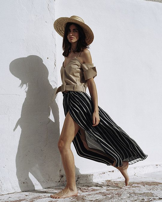 #Nanushka LINA Maxi Skirt, Black & White Stripe