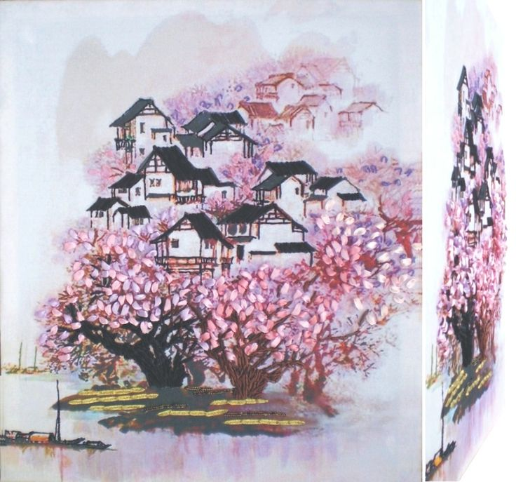 CHINESE LANDSCAPE 01 3D Ribbon embroidery on printed canvas with back woodden frame size: cm. 42x49,5 Price: € 140,00 $ code: P018
