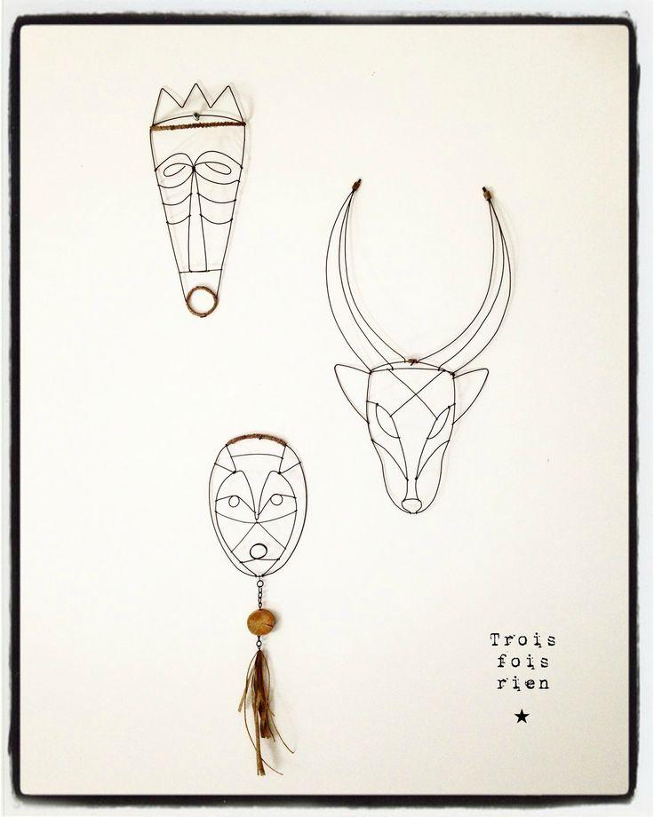 masque fil de fer, wire mask, fil de fer, wire, trois fois rien
