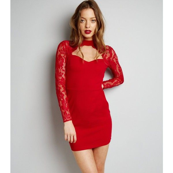 New Look Parisian Red Choker Neck Lace Panel Dress ($29) ❤ liked on Polyvore featuring dresses, red, night out dresses, lace inset dress, lace panel dress, day party dresses and holiday party dresses