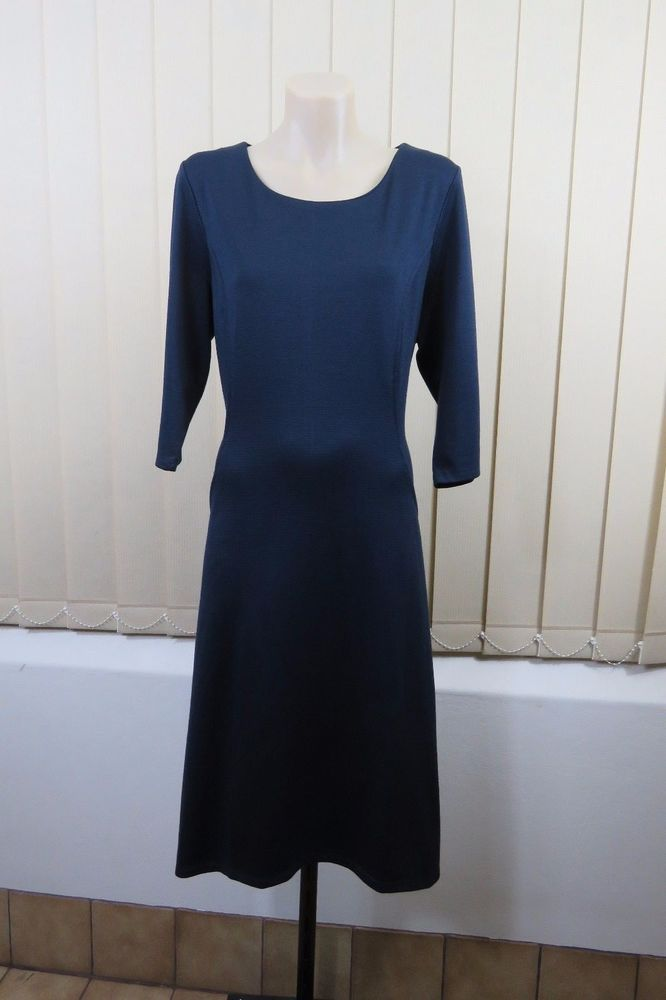 Size M 12 Ladies Blue Dress Boho Chic Casual Office Work Design Stretch Fit