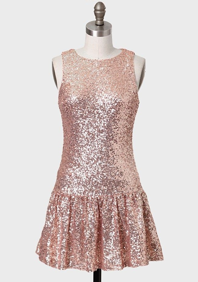 Catch My Eye Sequined Dress In Rose Gold