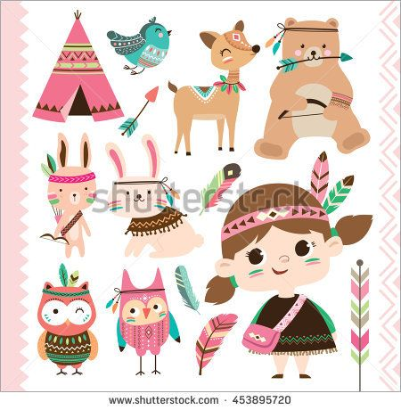 Set of <b>cute</b> tribal animals and a little girl in <b>cartoon style</b> | l love it ...
