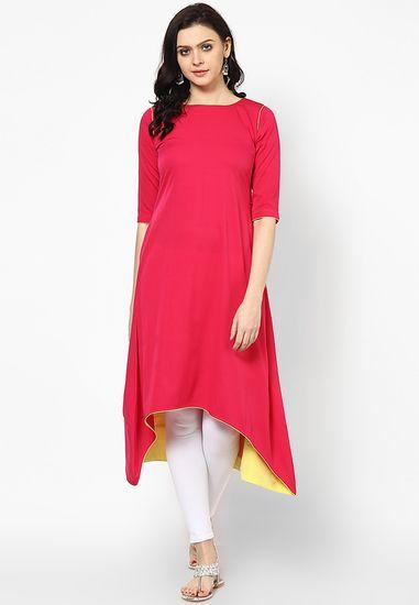 Pink Solid Kurti - Abhishti Kurtas & kurtis for women   buy women kurtas and kurtis online in indium