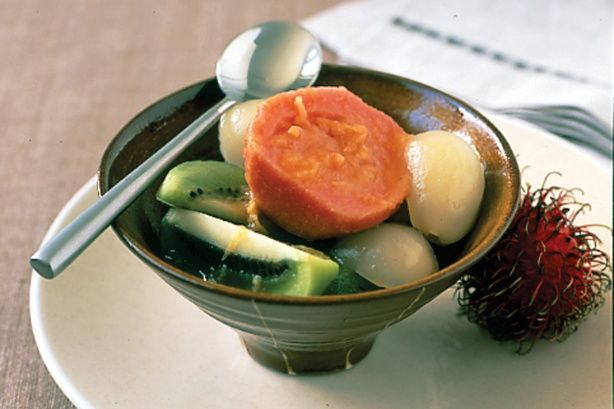 Asian Fruit Salad In Ginger Syrup - Soothe your sweet tooth with an exotic asian fruit dessert starring rambutan and guava.