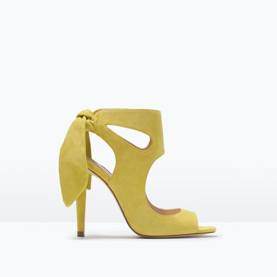 Image 1 of LEATHER HIGH HEELED SANDALS WITH BOW from Zara